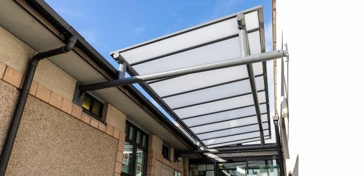 Bespoke entrance canopy we designed for Plas Meddyg Surgery