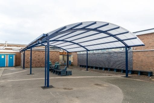 Curved roof shelter we designed for The Corbet School