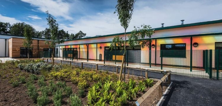 Colourful roof canopy we made for The Bridge School