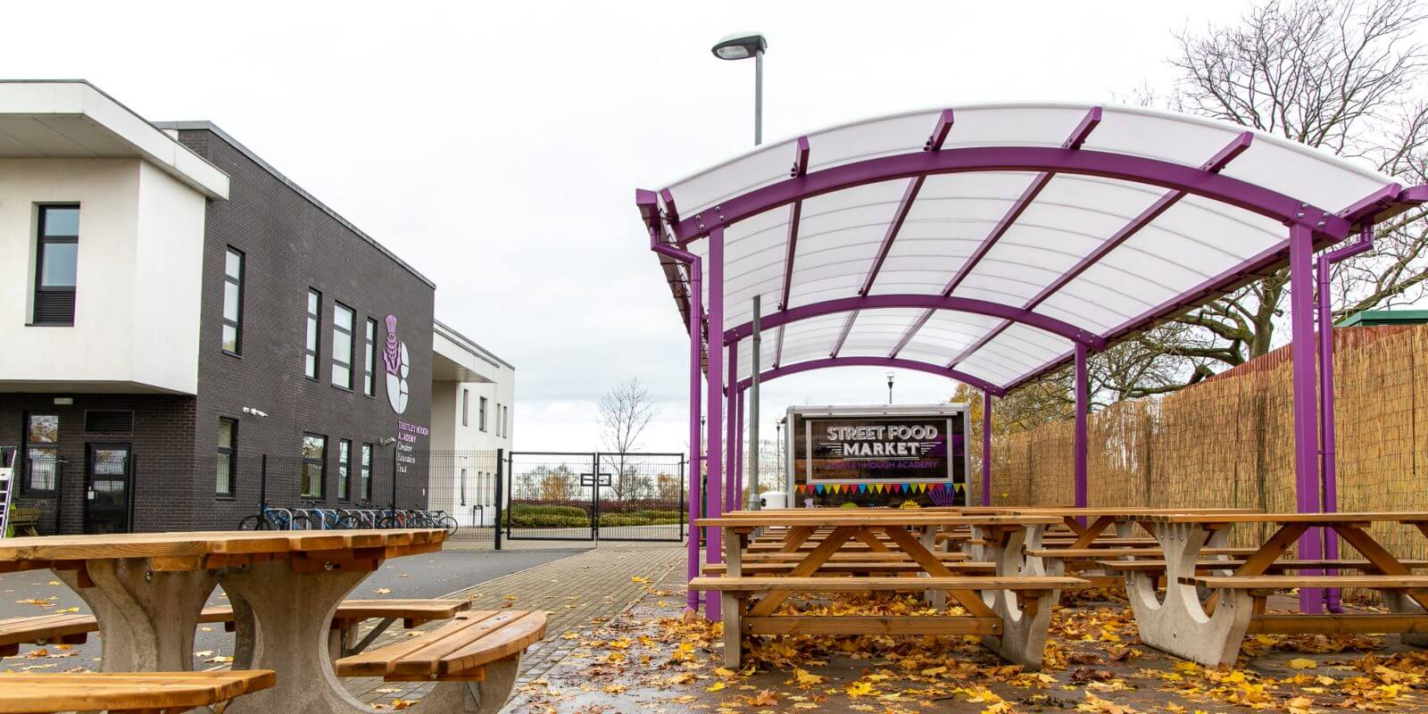 Curved roof canopy we manufactured for Thistley Hough Academy