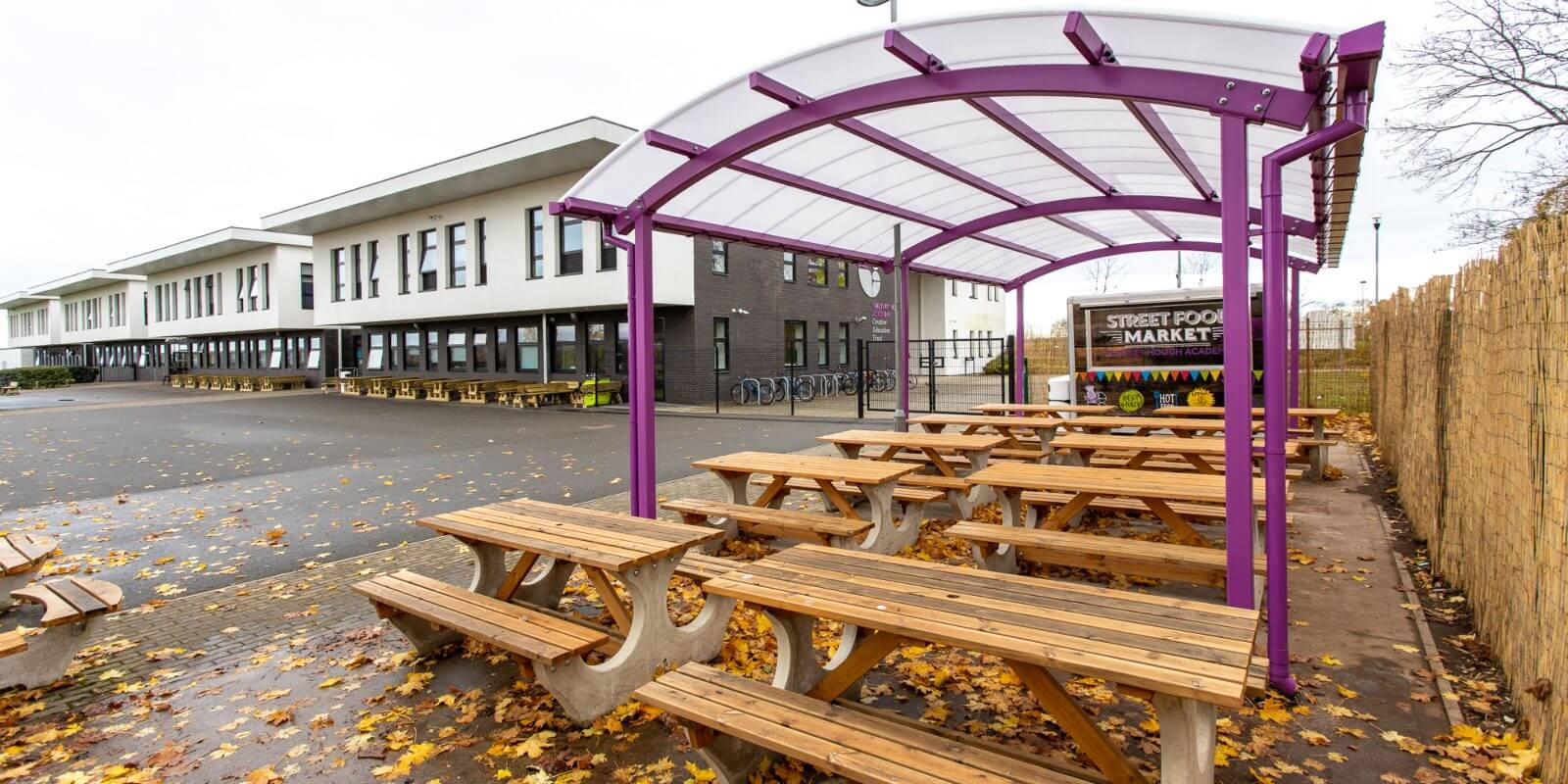 Dining area shelter we designed for Thistley Hough Academy