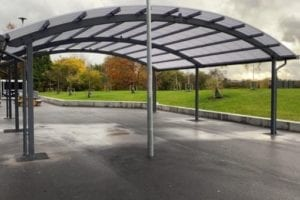 Dining shelter we designed for Laurus Ryecroft School