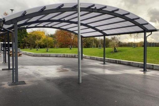Dining shelter we designed for Laurus Ryecroft School