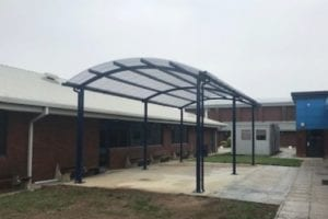 Freestanding shelter we made for Sir Thomas Rich's School