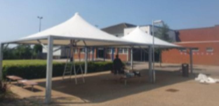 Fabric tepee shelters we designed for The Nuneaton Academy