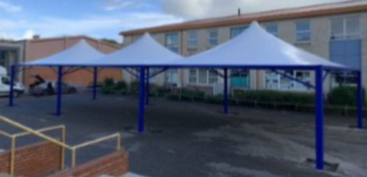Fabric shelters we designed for The Harvey Grammar School