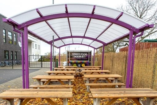 Dining shelter we designed for Thistley Hough Academy