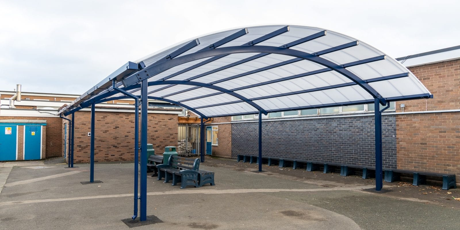 Freestanding canopy we installed at The Corbet School