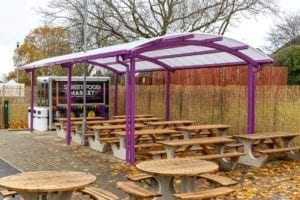 Freestanding shelter we designed for Thistley Hough Academy