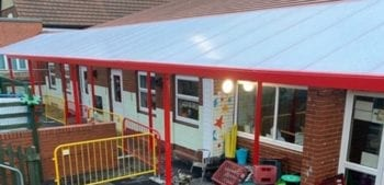 Straight roof playground canopy we designed for Brinsworth Manor Infant School