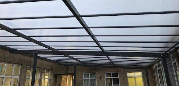 Straight roof canopy we designed for Parkside Cleansing Hub