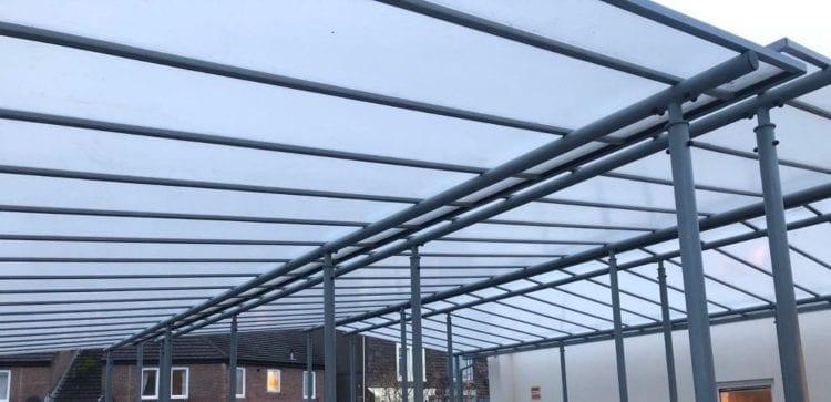 Straight roof shelter we designed for St Joseph's Catholic High School