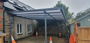 Straight roof shelter we designed for Ysgol Henllan