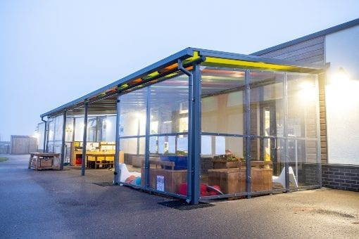 Canopy with sides we designed for Monksmoor Park Primary School