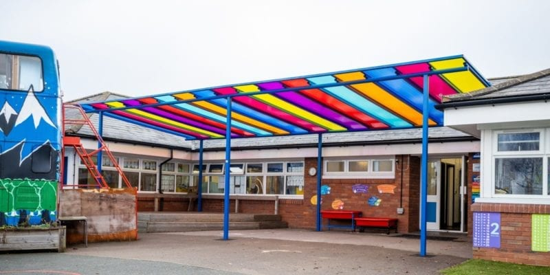 Colourful playground shelter we made for Old Church Primary School