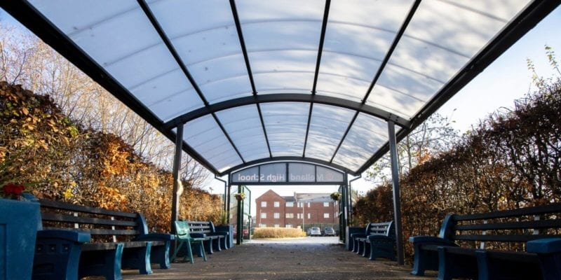 Covered walkway canopy we designed for Melland High School