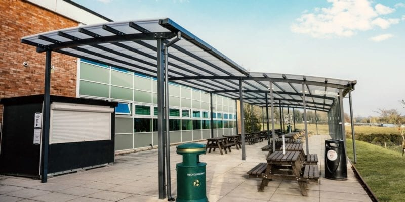 Curved roof canopy we designed for The Chantry School