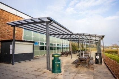 Dining area canopy made for The Chantry School