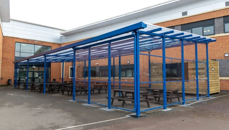 Dining canopy we designed for Avon Valley School