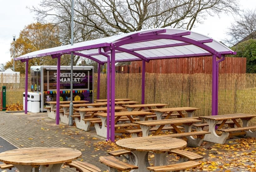 Dining area canopy we designed for Thistley Hough Academy