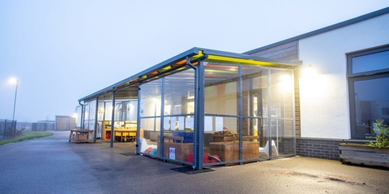 Enclosed shelter we installed at Monksmoor Park Primary School