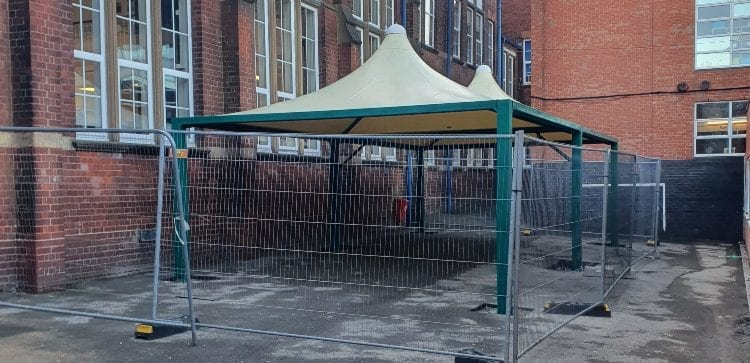 Fabric canopies we installed at King's Norton Boys' School
