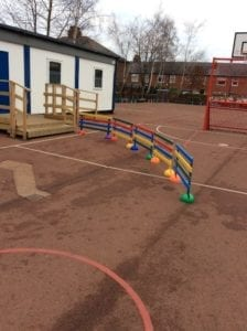 Colourful fence pales we donated to Archibald First School