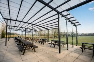 Outdoor dining canopy we designed for The Chantry School