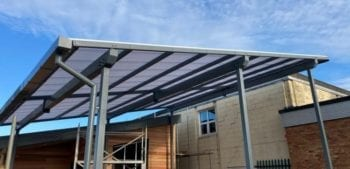 Straight roof shelter we installed at Cardinal Newman Catholic School