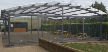 Dining area canopy we made for Lincroft Academy