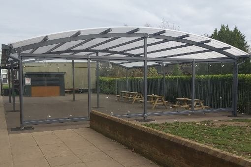 Dining area shelter we designed for Lincroft Academy