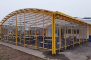 Dining canopy we fitted at St Benedict's Catholic College