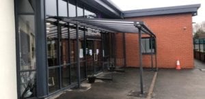 Entrance shelter we designed for Rumworth School
