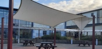 Fabric canopy we made for St John Fisher High School
