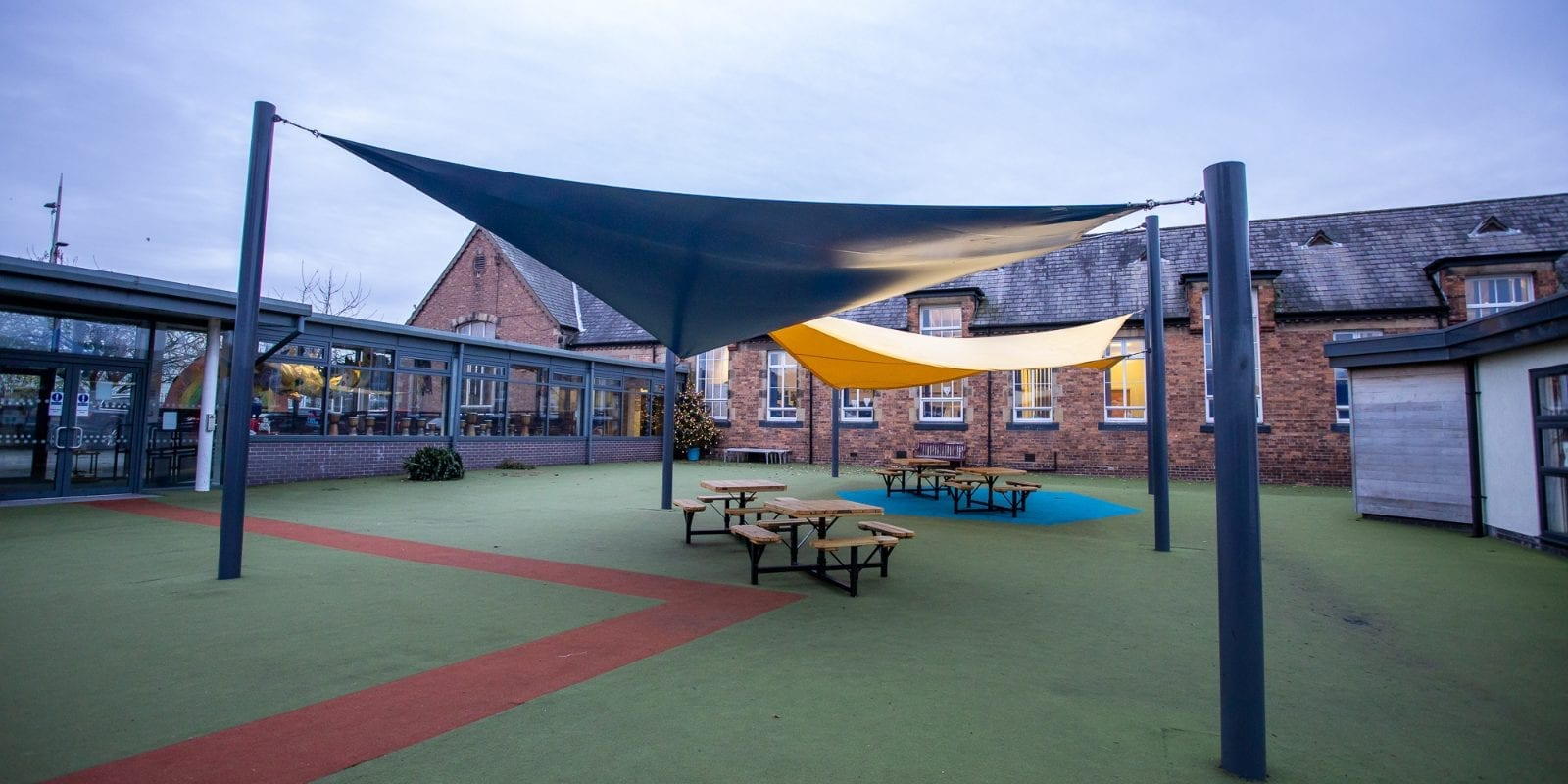 Fabric canopy we designed for Winsford Primary School