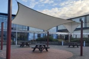 Fabric sail we designed for St John Fisher High School