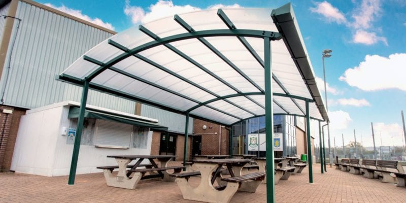 Green frame canopy we made for St Peter's High School
