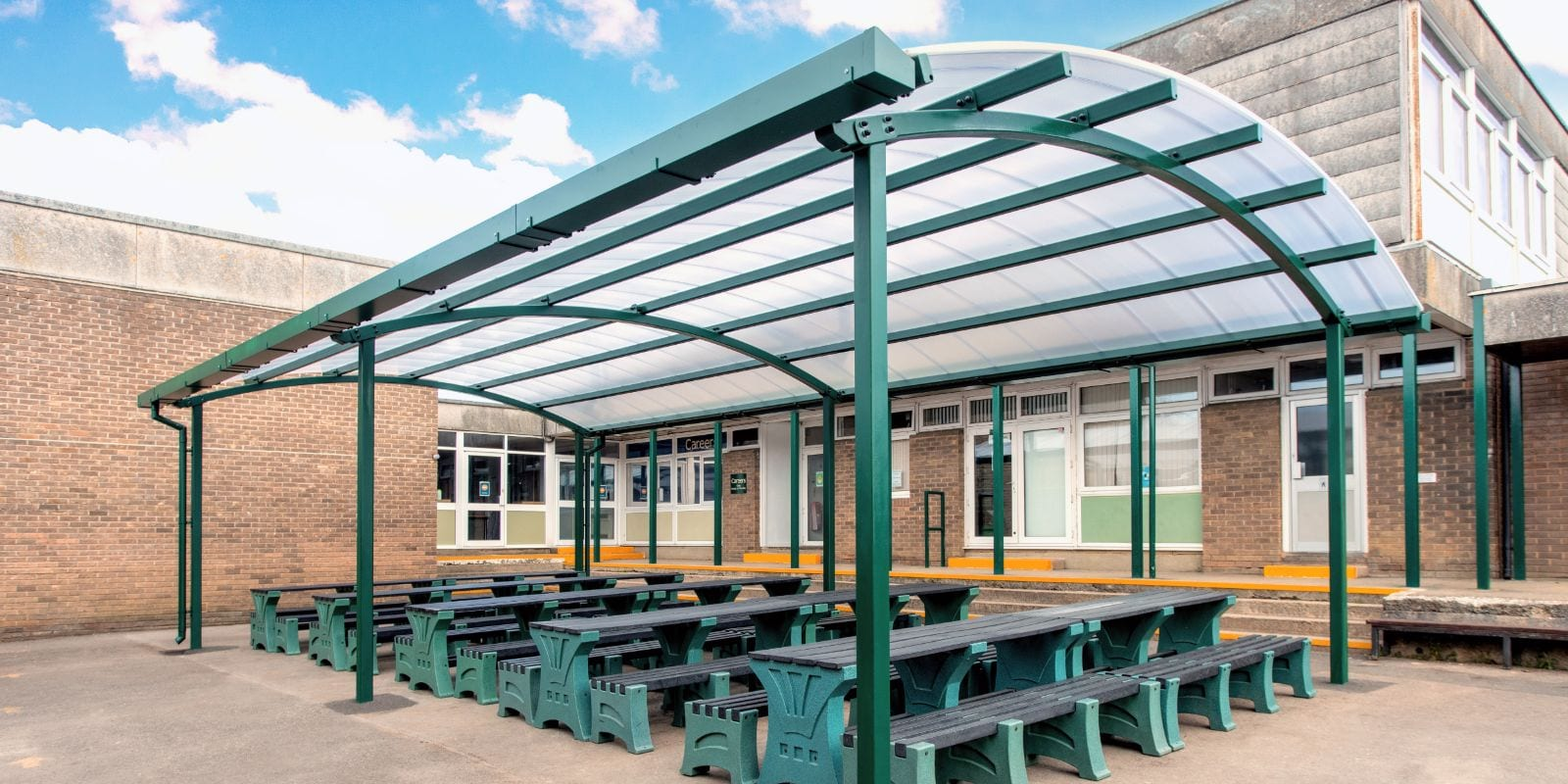 Green frame shelter at St Peter's High School