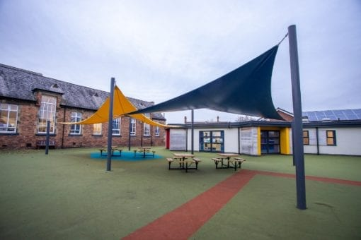 Playground sail shade we installed at Winsford High Street Primary School