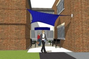 Shade sail visual we created for Epsom College
