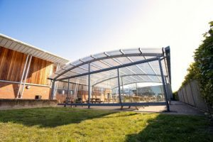 Shelter with sides we made for Lincroft Academy