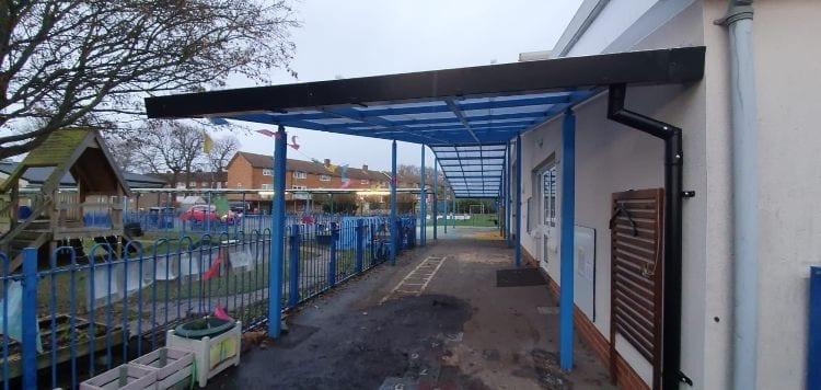 Straight roof canopy we designed for Beddington Infants School