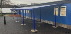 Straight roof shelter we designed for Suffolks School