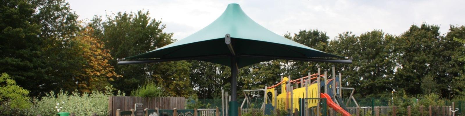 Umbrella canopy we designed for The Bridge Primary School