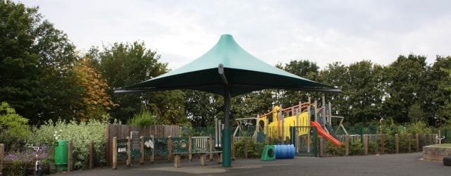 Umbrella shelter we made for The Bridge Primary School