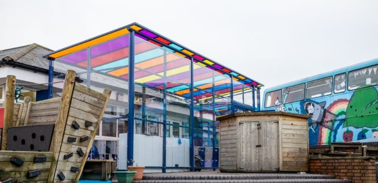 Bespoke canopy we designed for Old Church Primary School