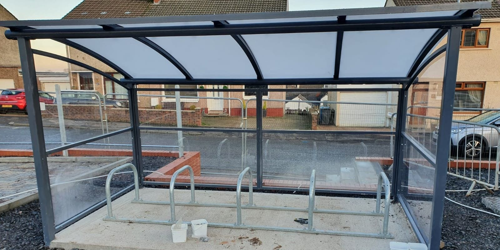 Cycle shelter we designed for Cross Arthurlie Primary School