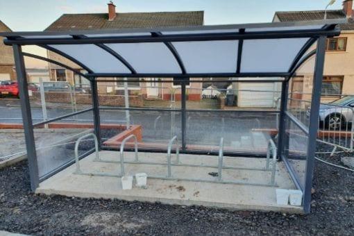 Bike shelter we installed at Cross Arthurlie Primary School