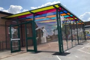 Colourful roof shelter we fitted at Sherrier C of E Primary School