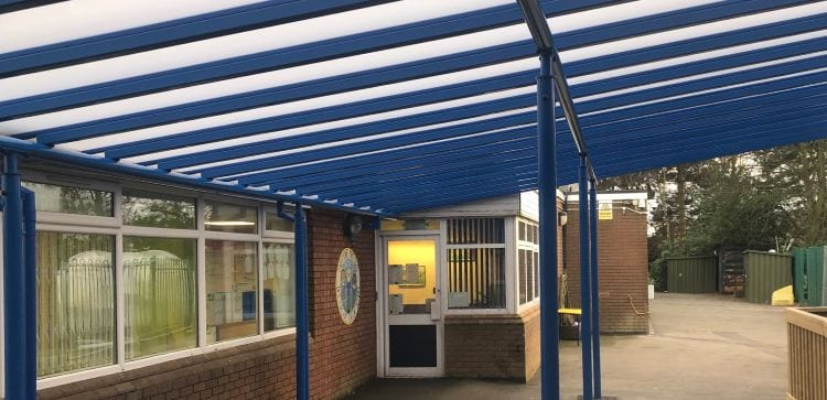 Covered walkway canopy we designed for Whitgreave Primary School